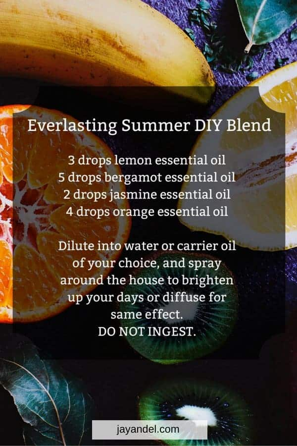 Everlasting summer DIY blend. Use essential oils to bring back those memories and feelings of summer, and help you through the dreariest of cold nights.