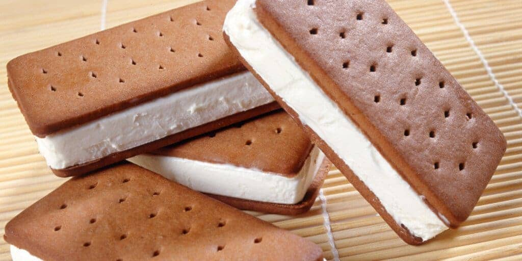 Fat-free ice cream sandwiches