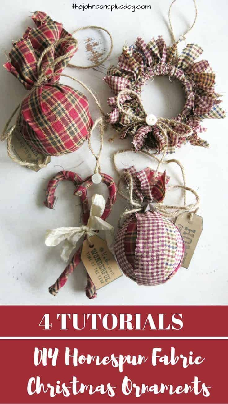 DIY Homespun Fabric Christmas Ornament – 4 Tutorials