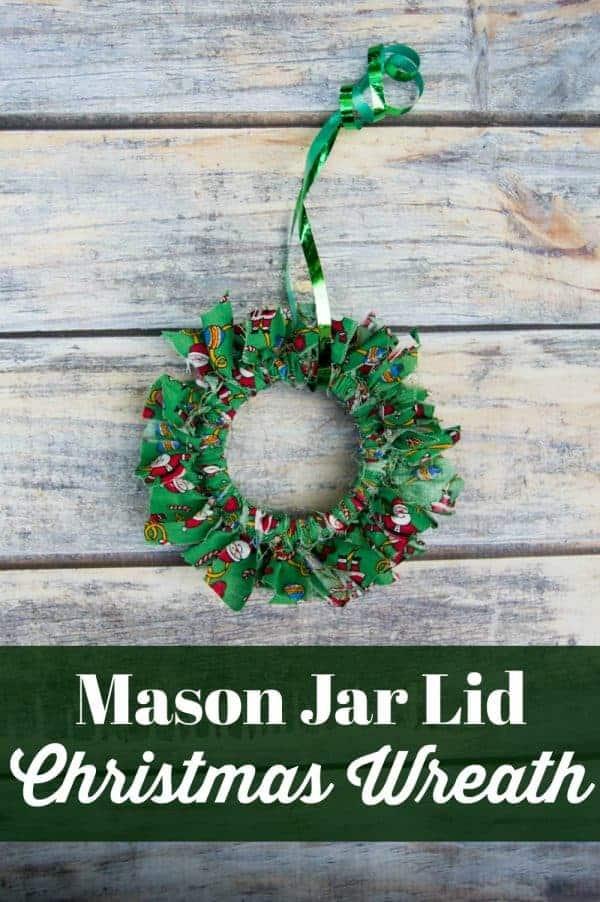Mason Jar Lid Christmas Wreath Ornament Craft