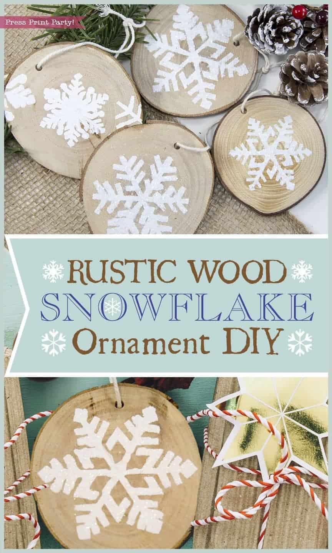rustic wood snowflake ornament