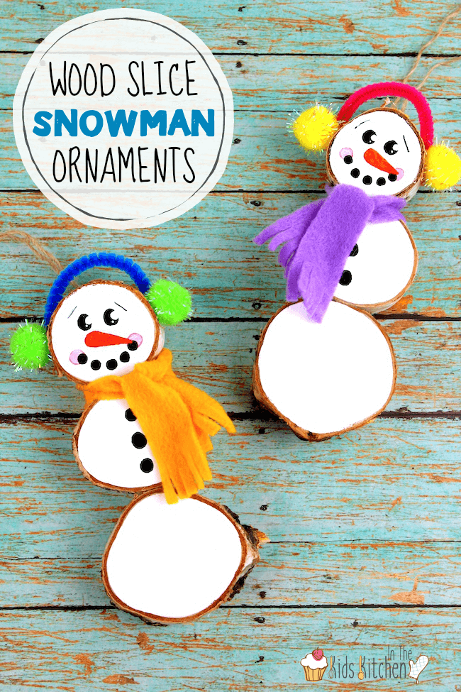 rustic wood slice snowman ornaments