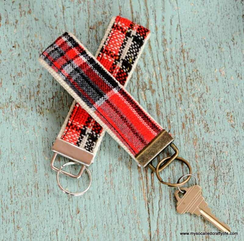 DIY Vintage Fabric and Webbing Key Chains