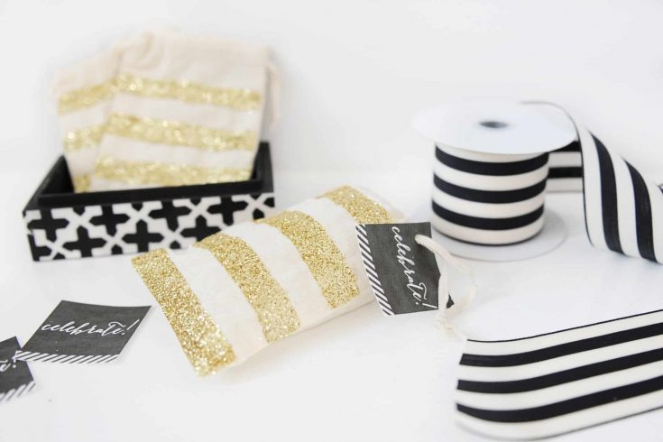 DIY Glittered Muslin Bags