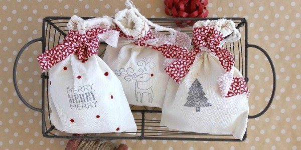 DIY Stamped Christmas Gift Bags