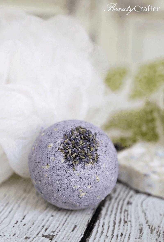 round dark purple bath bomb scented with lavender