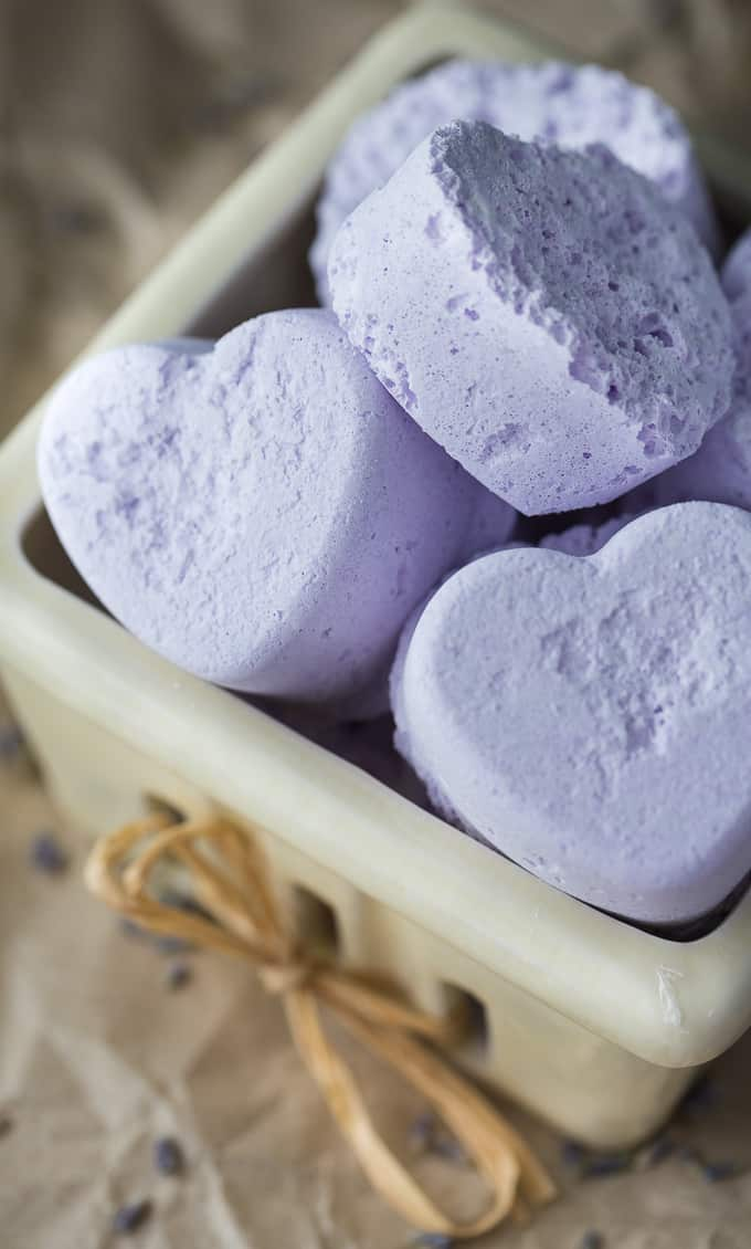 lavender heart shape bath bombs