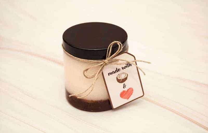 diy coconut oil sugar scrub to make and sell