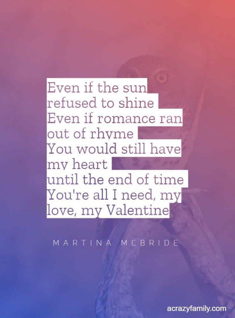 Valentine by Martina McBride song lyrics