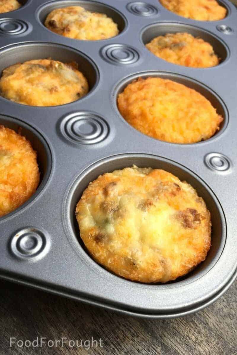 Spicy Portobello and Sausage Breakfast Muffins (Low-Carb)