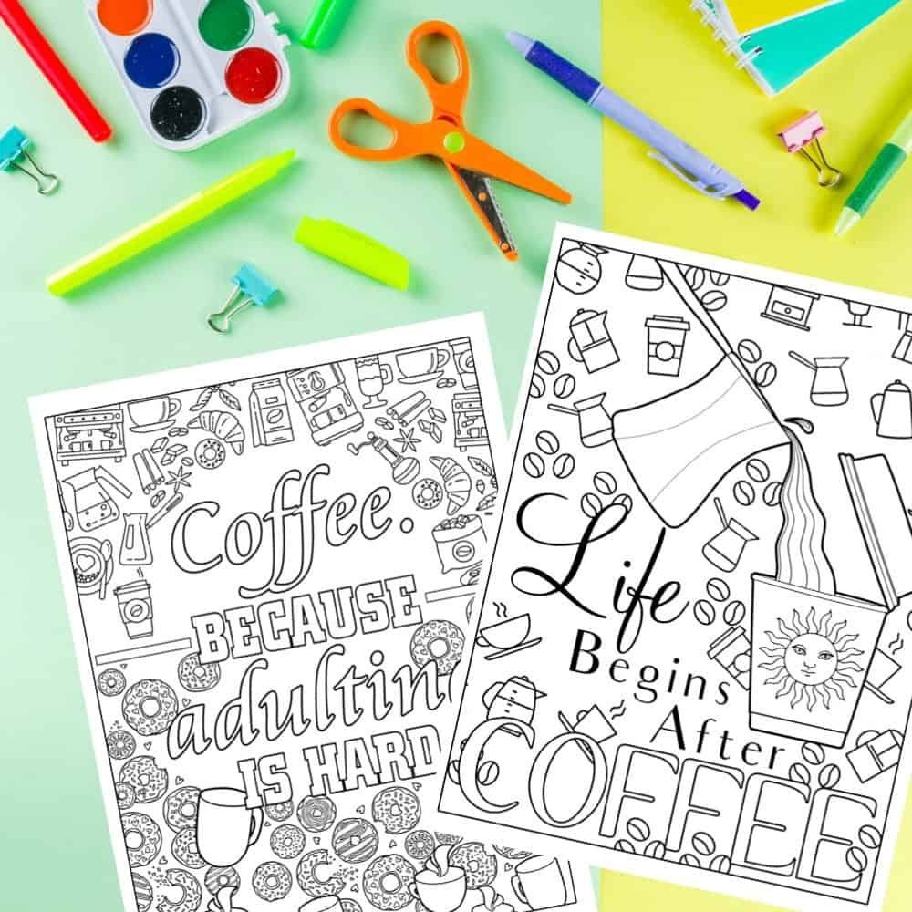 Coffee Cravings Adult Coloring Pages for Stress Relief