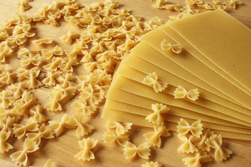 Farfalle and lasagna dried pasta, essential ingredients for the kitchen