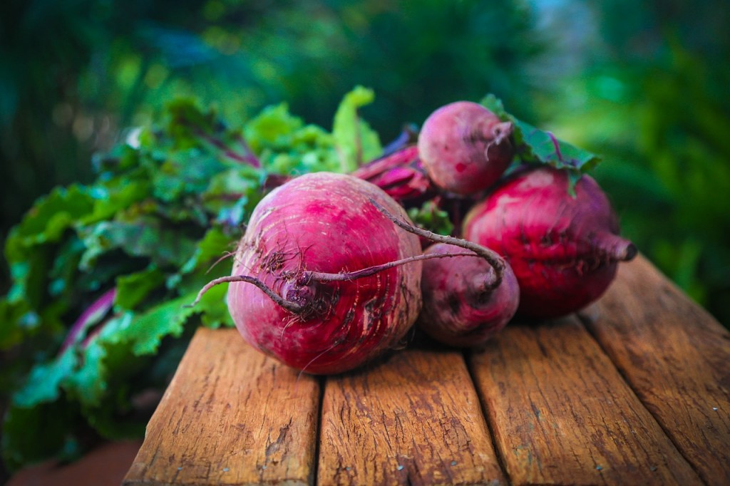 Beetroot on wooden bench