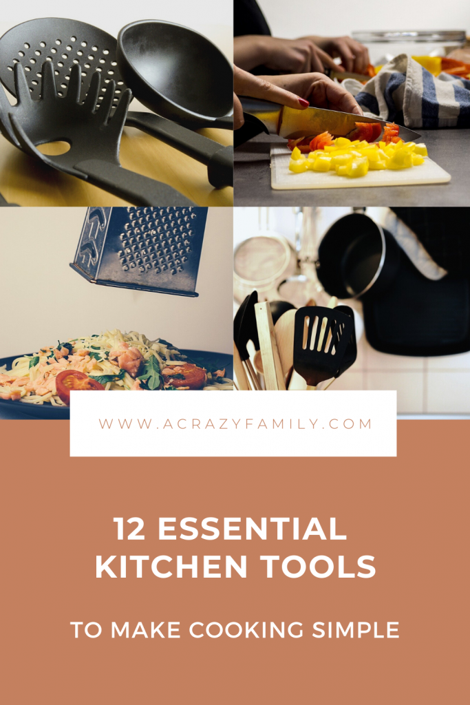 Pinterest image for 12 Essential Kitchen Tools