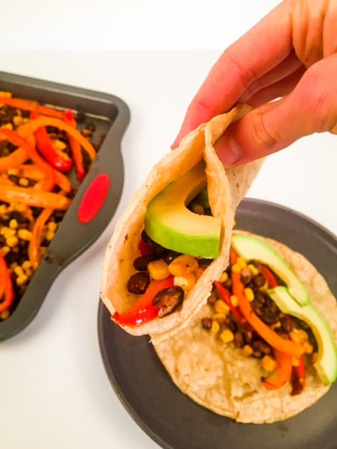 Black beans with corn fajitas