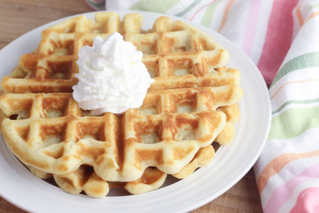 gluten-free waffles with cream topping