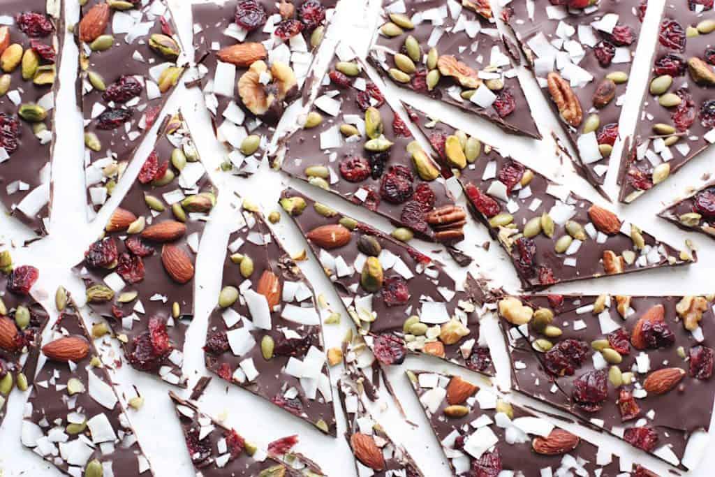 Dark chocolate bark - healthy versions of junk food