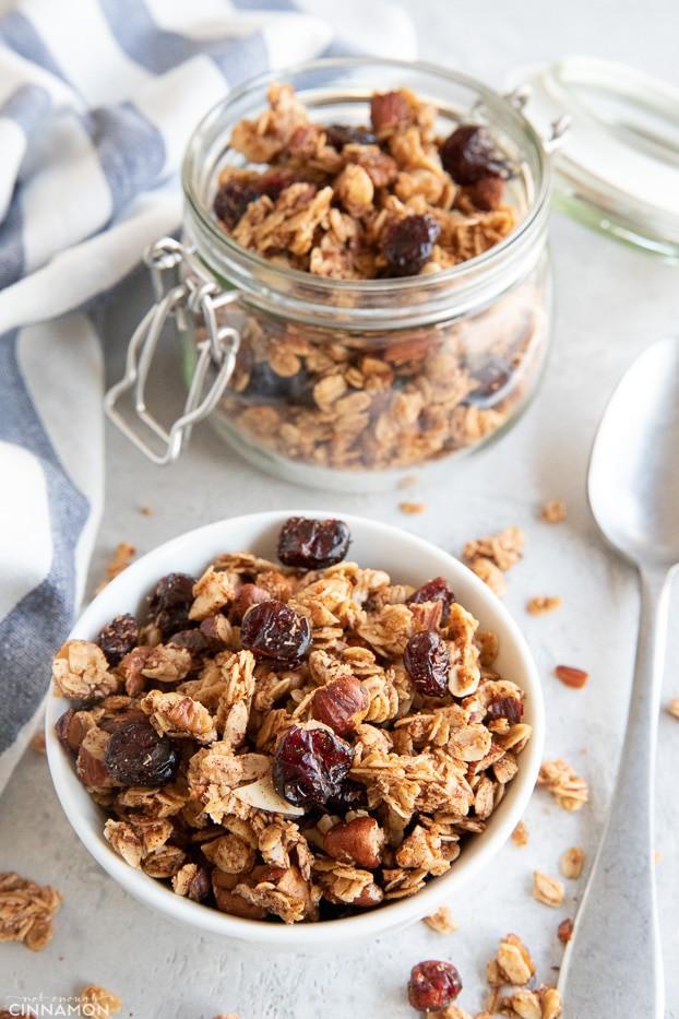 Granola in jar and bowl
