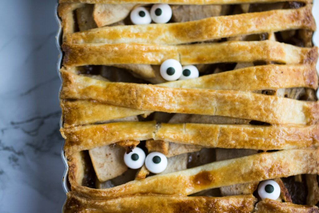 Mummified pie with eyes