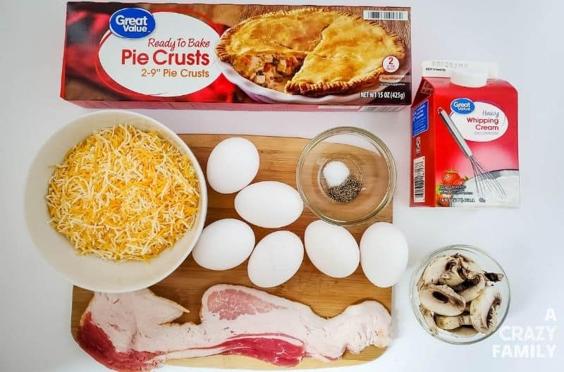 Ingredients needed to make the Bacon and Mushroom Mini Quiche.