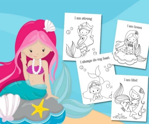 Build Confidence in Kids With the Mermaid Affirmation Coloring Pages